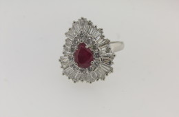 Beautiful Contemporary Platinum, Diamond and Burma Ruby Ring/Pendant with a total of 3.75 cts