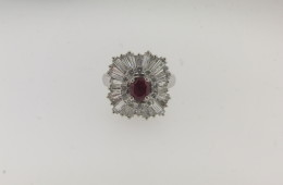 Contemporary Platinum, Diamond and Burma Ruby Ring/Pendant with a total of 3.40 cts