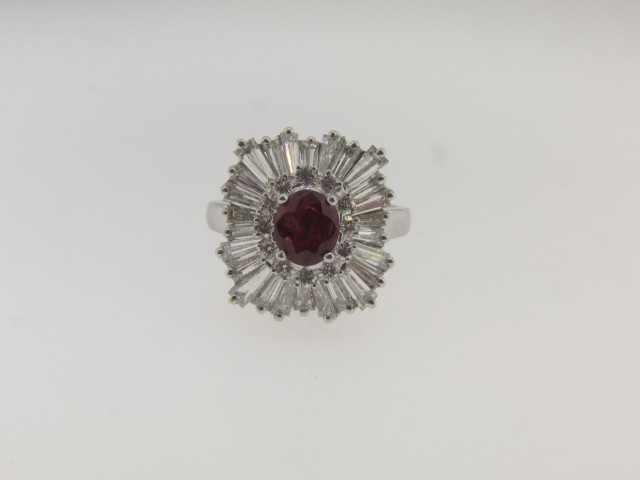 Contemporary Burma Ruby and Diamond Ring/Pendant with a total of 4.68 cts