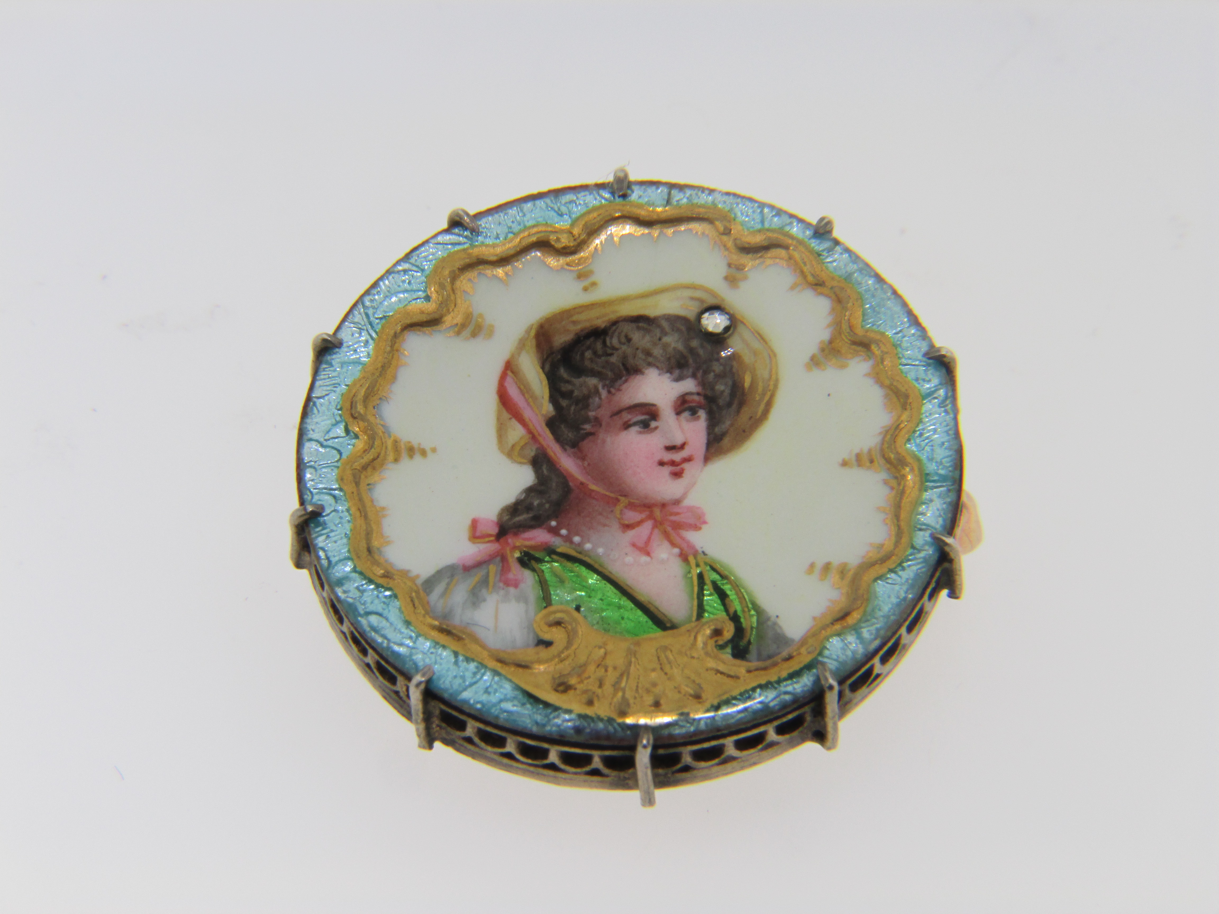 Vintage Victorian Hand Painted Enamel Circle Brooch/Pendant with Rose Cut Diamond Accent