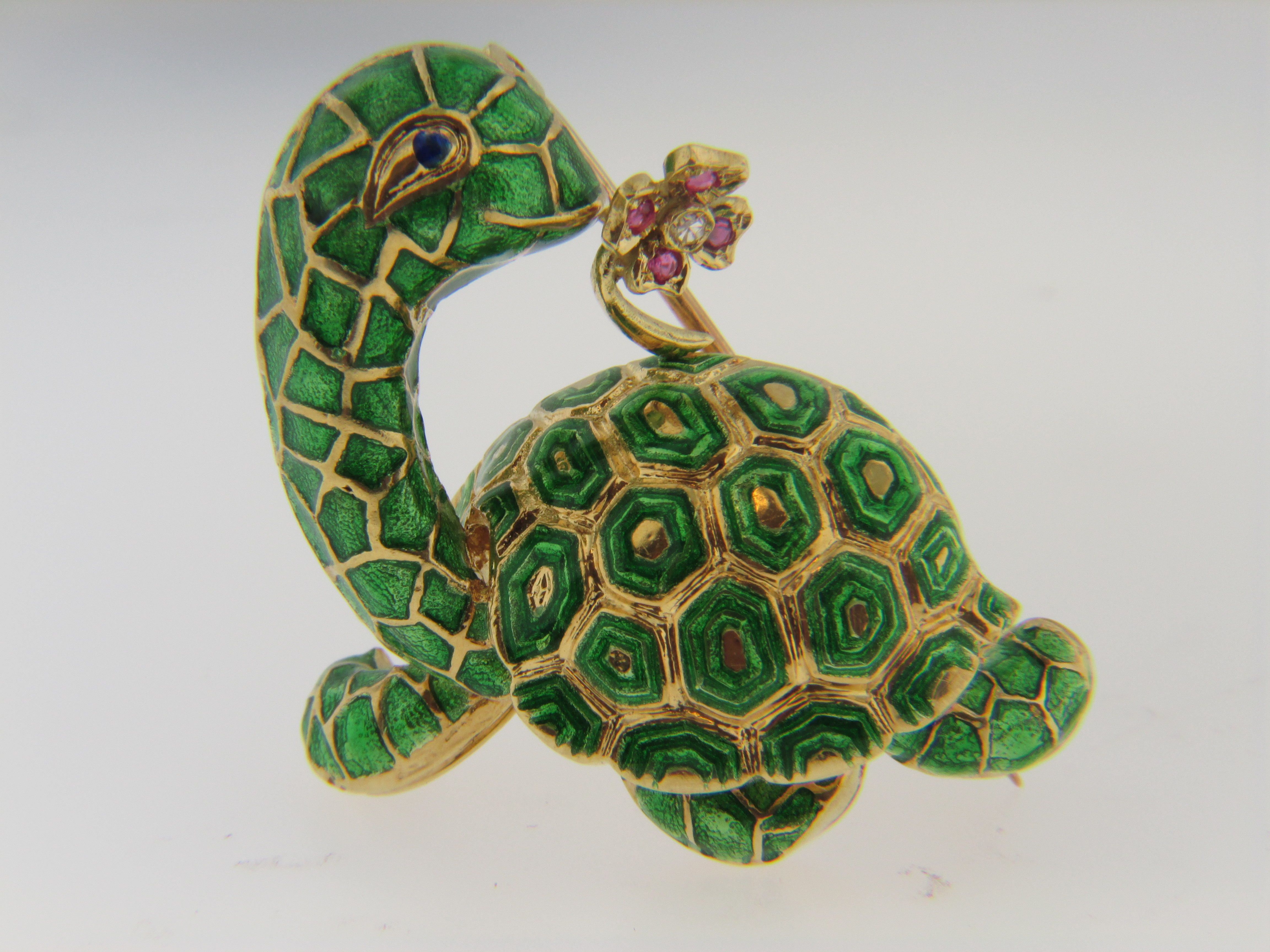 1970's 18k Yellow Gold and Green Enamel Turtle Brooch with a Diamond and Ruby Flower