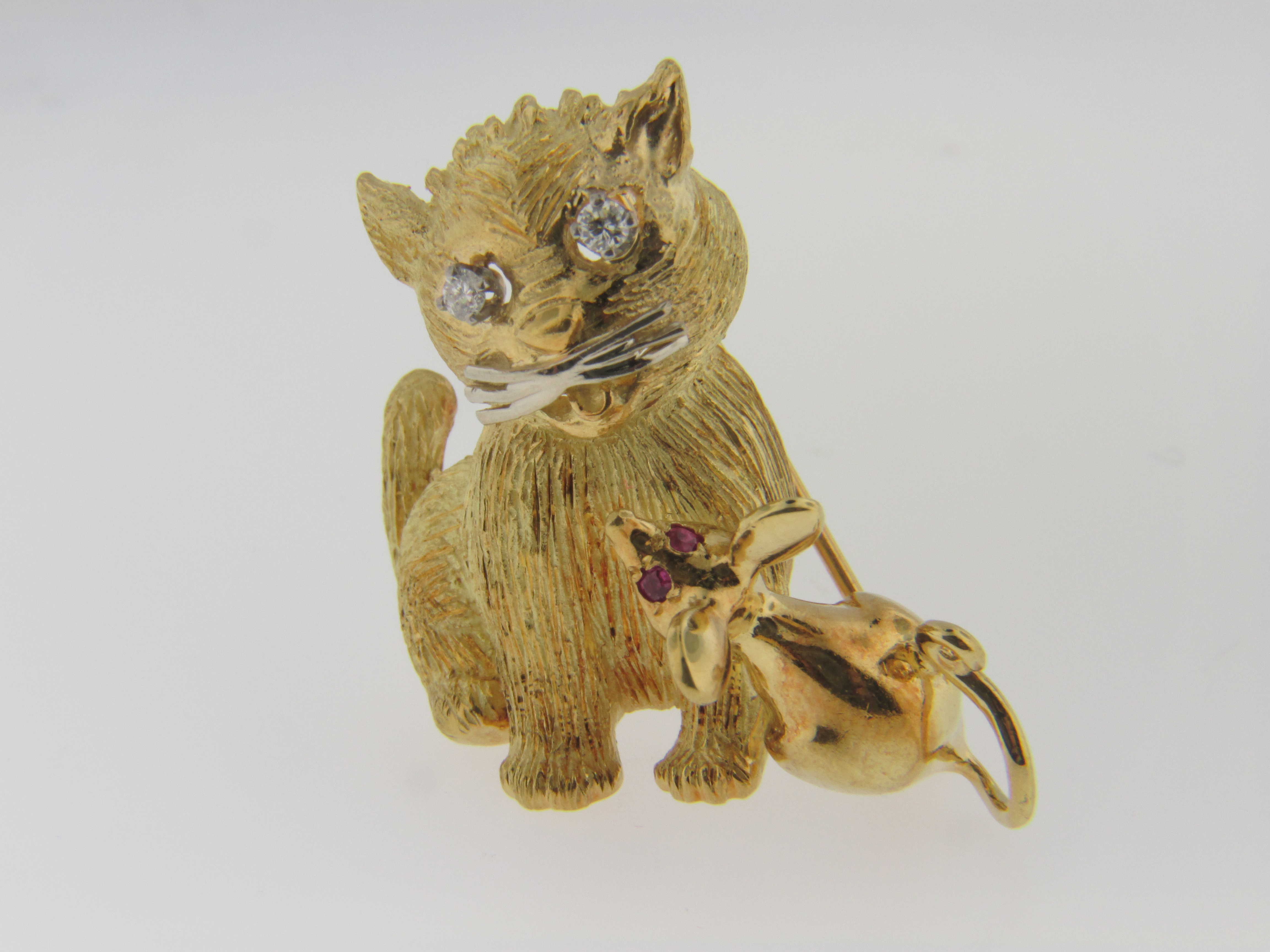 Diamond and Ruby Cat and Mouse Pin with the Mouse Done in 18k Yellow Gold