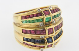 Vintage Ruby, Sapphire, Emerald and Diamond Estate Ring in 18k Yellow Gold Size 7.5