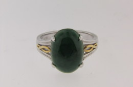 Oval Cabochon Jadeite Two Tone Estate Ring in 18k White and Yellow Gold Size 6