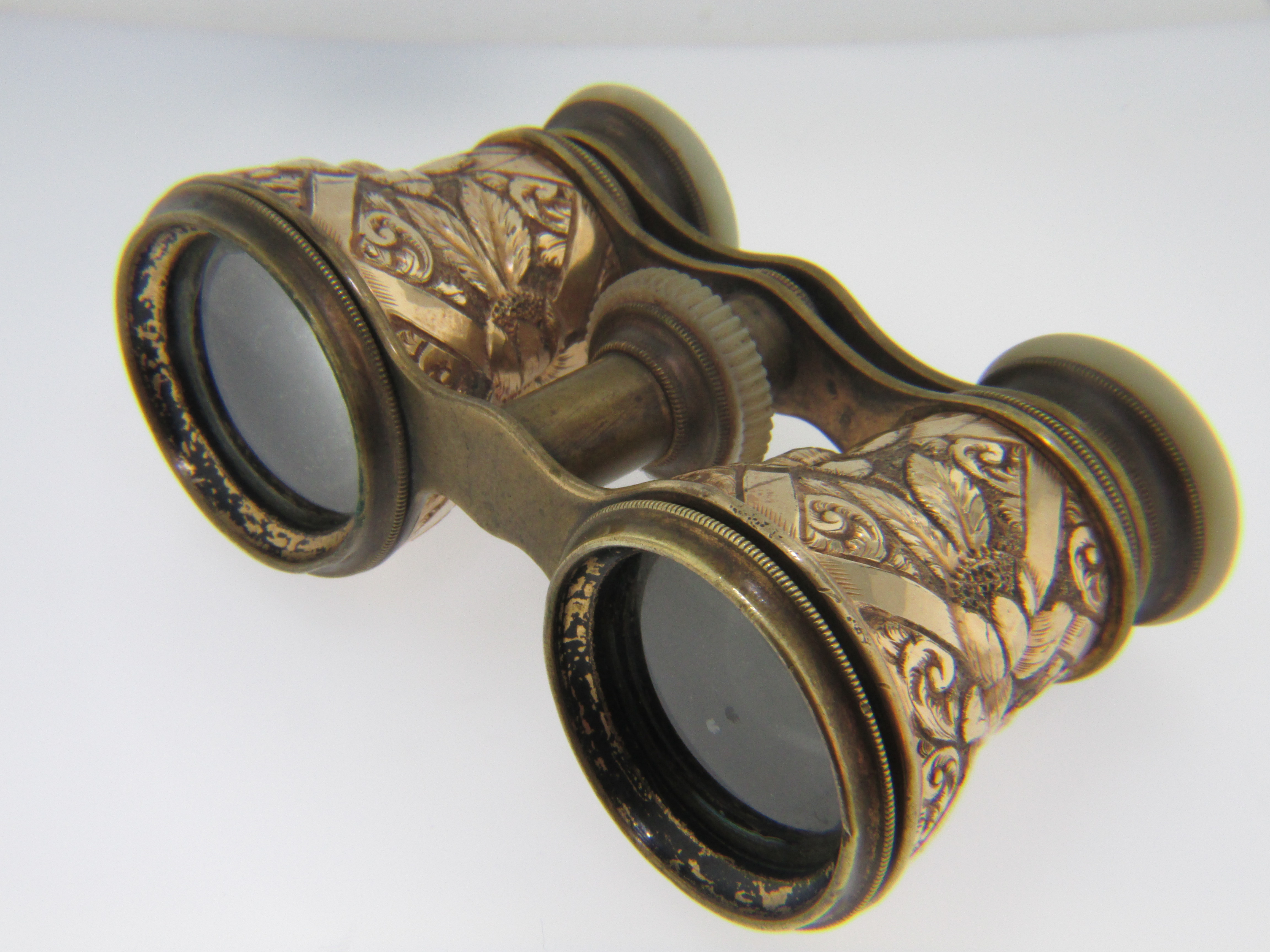 antique �the elite paris� gold filled opera glasses with a