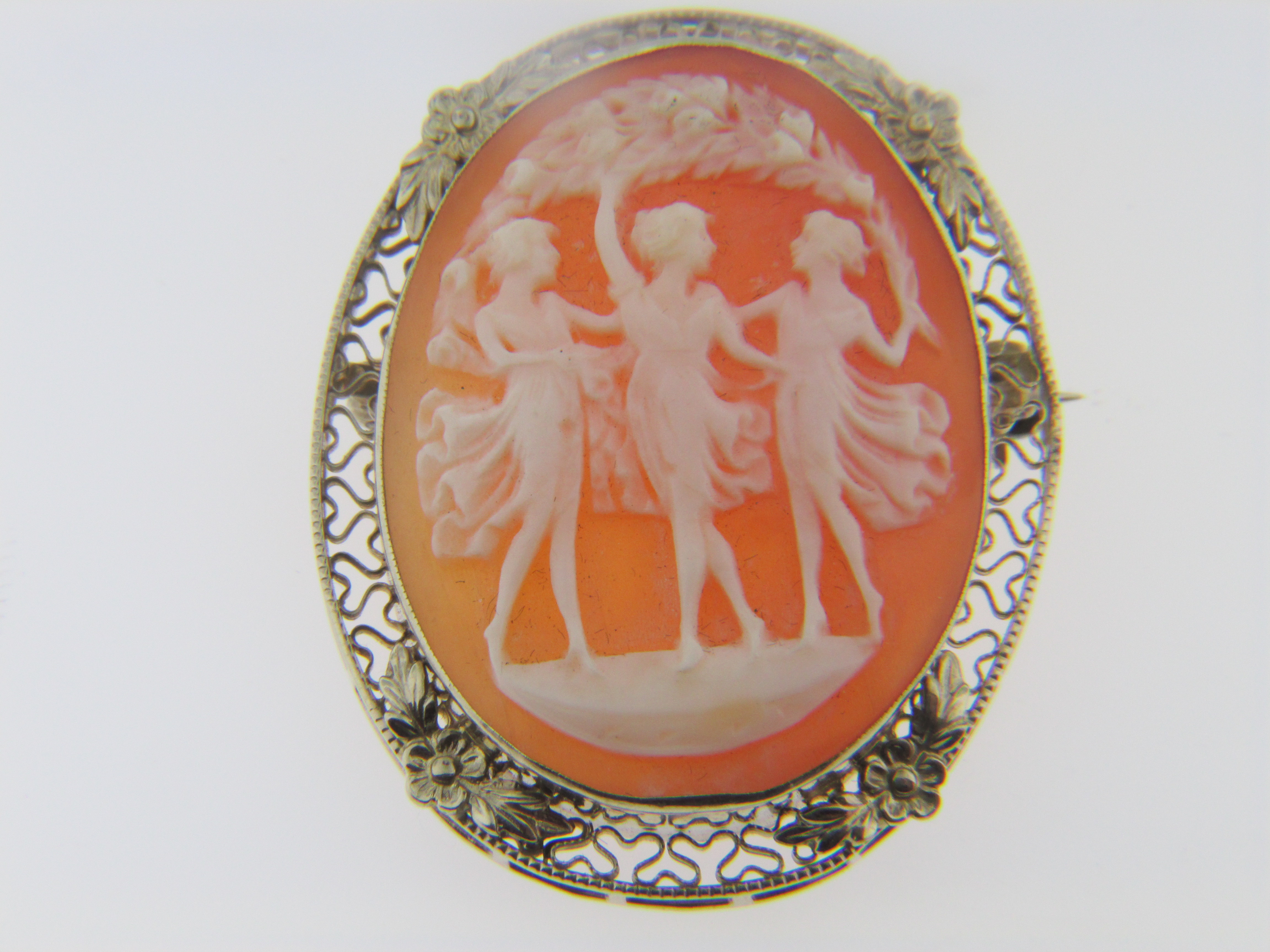 Antique Shell Cameo Estate Pin/Pendant with Fine Detail in 14k ...