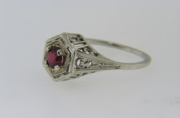 Antique Round Cut Ruby Very Fine Estate Ring in 18k White Gold Size 5.5