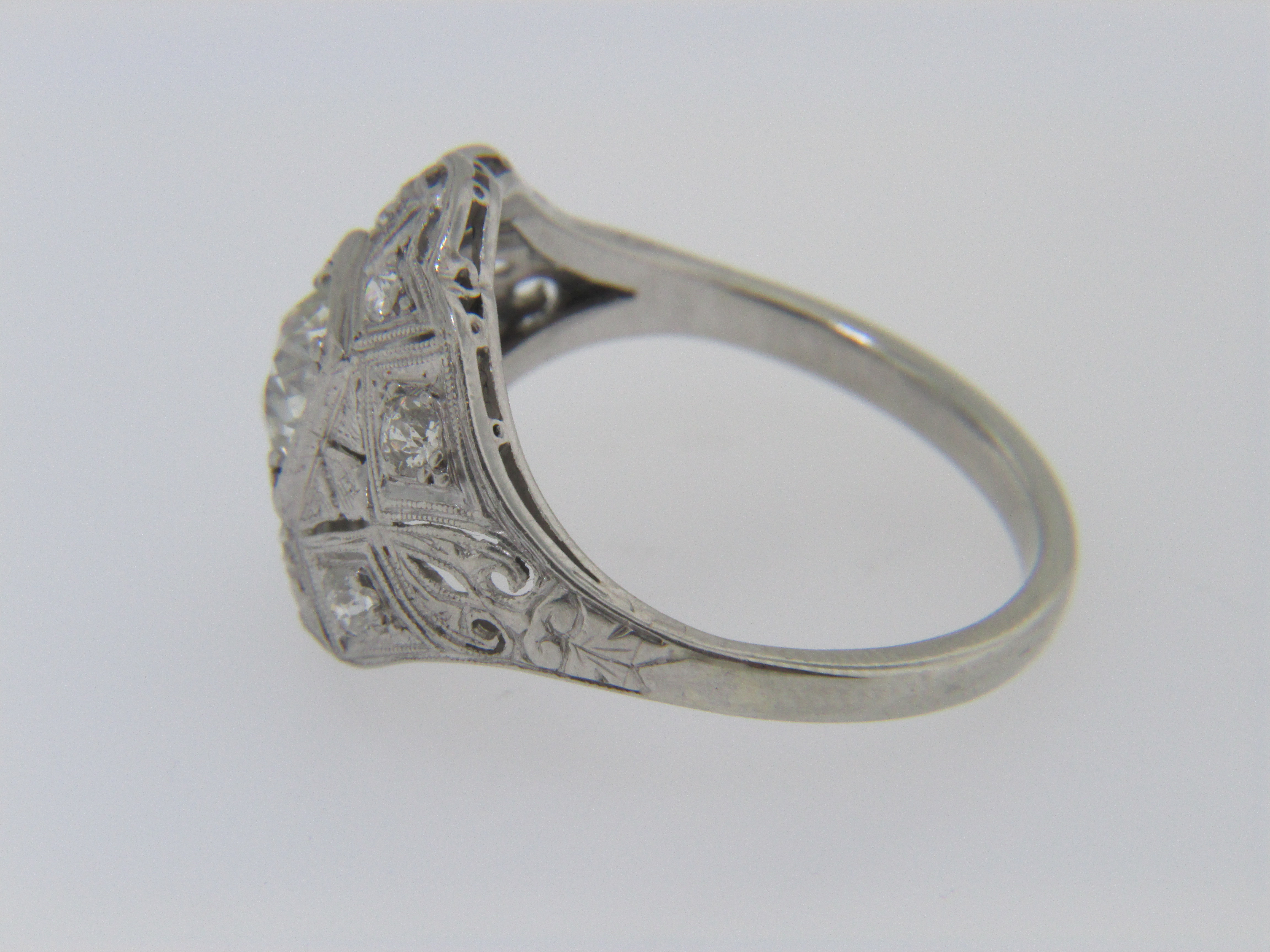Antique Old Mine Cut Hand Tooled Diamond Estate Ring In