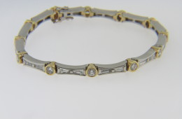 Very Fine Vintage Two Tone 3.5tcw Round and Baguette Diamond Estate Bracelet in Platinum and 18k Yellow Gold