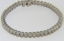 Modern 6.5tcw Round Cut Diamond Estate Bracelet in Fine 14k White Gold