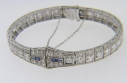 Very Fine Antique 3.6tcw Round Cut Diamond Estate Bracelet with Sapphire Accents in 14k White Gold and Platinum