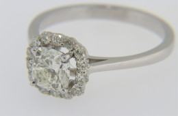 Contemporary 1.32tcw Cushion and Round Cut Diamond Engagement Ring in 14k White Gold Size 7