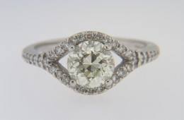 Vintage 1.79ctw Old Mine Cut Diamond Estate Ring in 14k White Gold Size 6.75