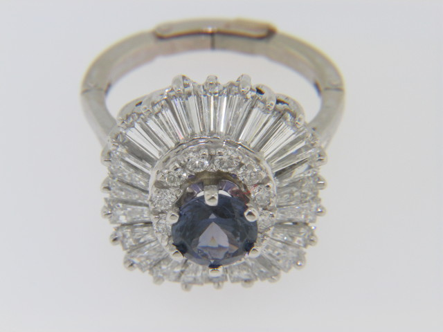 Vintage 4.38ctw Round Lavender Sapphire and Diamond Estate Ring in White Gold Size 6.5 with Fingermate