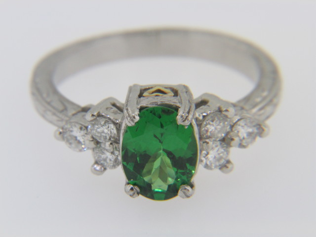 Vintage Oval Tsavorite and Diamond Estate Ring in Platinum with Yellow Gold Heart Accent
