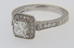 Contemporary 0.93 Carat Princess Cut Diamond Engagement Ring with Round Diamond Accents in 14k White Gold Size 6.25