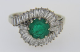 Vintage 2.0ctw Round Emerald and Tapered Baguette Estate Ring in 18k White Gold Size 7