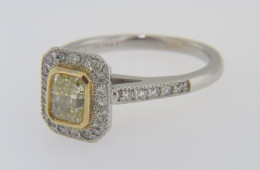 Modern Two Tone 1.31ctw Fancy Yellow Diamond Engagement Ring with Round Diamond Accents in 14k White and Yellow Gold Size 6.25