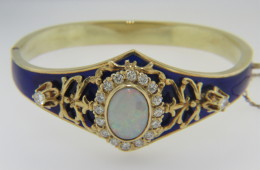 Vintage 1970's Australian Opal & Diamond Hinged Bangle Bracelet in 14k Yellow Gold