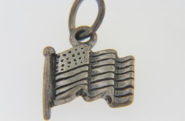 Vintage American Flag Charm in .925 Sterling Silver