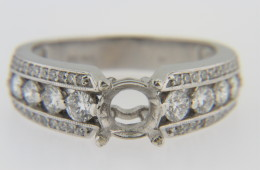 New Ring Mounting with 0.75ct Round Diamonds in 14k White Gold Size 6.75