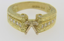 Timeless Fine Ring Mounting with 0.36ct Diamonds 18k Yellow Gold Size 7