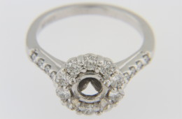 New Ring Mounting with 0.75ct Halo and Accents Diamonds in 14k White Gold