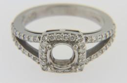 Very Fine 0.50ct Ring Mounting with Square Diamond Halo in 14k White Gold Size 6.75