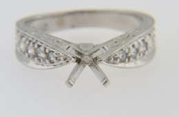 Elegant Ring Mounting with 0.37ct Round Diamonds in 18k White Gold Size 6.75