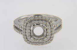 Double Square Halo Split Shank Ring Mounting with 0.65ct Round Diamonds in 14k White Gold Size 6.75