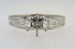 Timeless Fine Ring Mounting with 0.55ct Diamonds in 14k White Gold Size 6.75