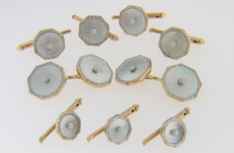 Vintage Victorian Natural Pearl Stud Set by Sulka 9 Pieces