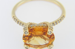 Vintage Fine LeVian 3.89tcw Citrine & Diamond Estate Ring in 14k Yellow Gold Size 7