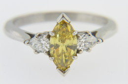 Vintage 0.68ct Marquise Yellow Irradiated Diamond Estate Ring In Platinum Size 6 Very Fine