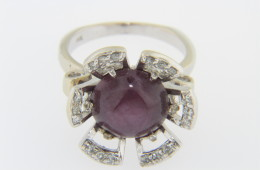 Vintage Genuine Star Ruby And Diamond Flower Estate Ring in 14k White Gold Size 7