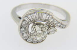 Vintage 1.6tcw Very Fine Round and Baguette Diamond Whimsical Estate Ring 18k White Gold Size 8.75