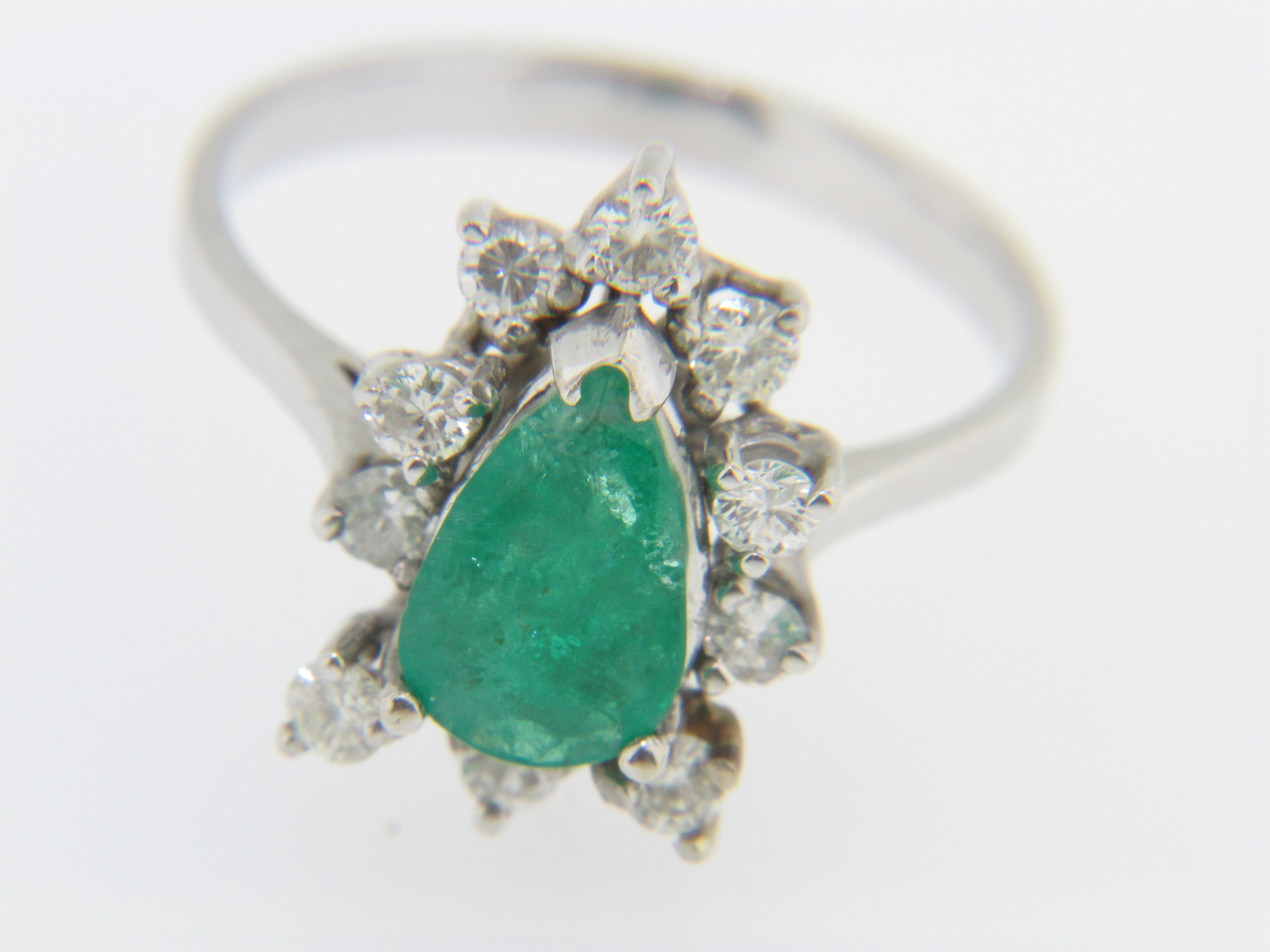 Vintage Pear Cut Emerald And Round Diamond Estate Ring 14k White Gold Size 6.5