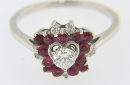 Vintage Round Diamond And Ruby Heart Design Estate Ring In 14k White Gold Size 8