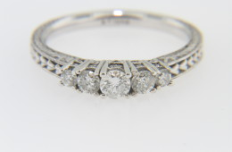 Vintage Antique 0.33tcw Diamond & Fine Heart Design Estate Ring In 14k White Gold Size 6.5