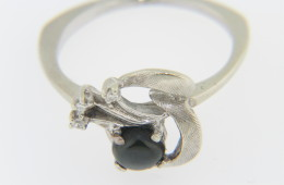 Vintage Round Black Star Sapphire And Diamond Estate Ring In 14k White Gold Size 5.75
