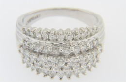 Vintage Stunning 1.5tcw Round Diamond Band Estate Ring in 14k White Gold Size 9.25