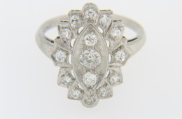 Vintage Antique 0.50tcw Round Diamond Flower Estate Ring In Platinum Size 5.75