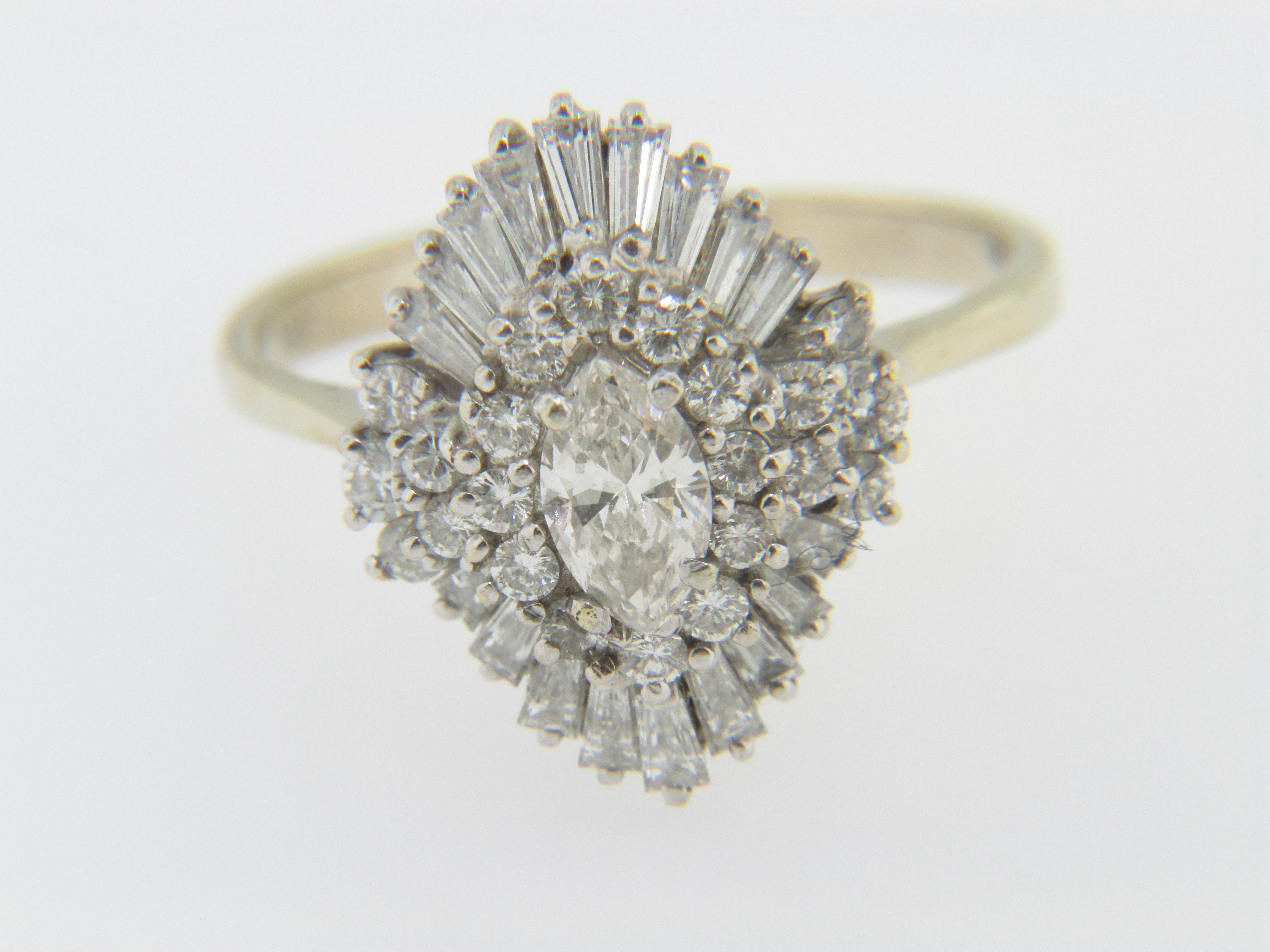 This Is A Vintage 15ctw Marquise, Round And Baguette Diamond Cluster  Ballerina Ring In 18k White And Yellow Gold Size 925 The Ring Weighs 54  Grams And