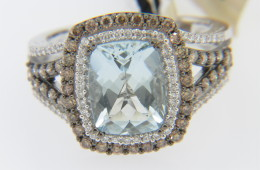 LeVian 2.75ctw Aquamarine and White & Chocolate Diamond Ring in 14k White Gold Size 7