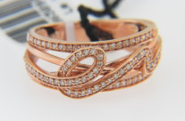LeVian 0.38ctw Diamond Whimsical Loop Open Style Band Ring In 14k Rose Gold Size 7