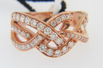 LeVian 0.85ctw Round Diamond Knot Style Band Ring in 14k Rose Gold Size 7