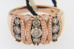 LeVian 1.23ctw Chocolate & White Round Diamond Band Ring In 14k Rose Gold Size 7