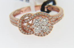 LeVian 0.75ctw Round Diamond Buckle Design Ring In 14k Rose Gold Size 6.75