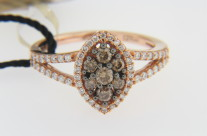 Levian 0.63ctw Round Chocolate & White Diamond Flower Design Ring in 14k Rose Gold Size 7