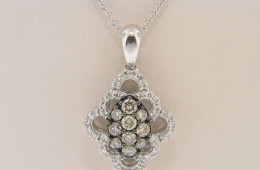 LeVian 0.55ctw Round Chocolate & White Diamond Flower Design Necklace in 14k White Gold